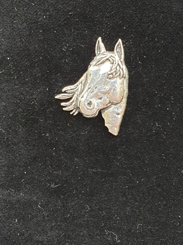 Pewter Tie Pin / Pin Badge Horse Head Design.