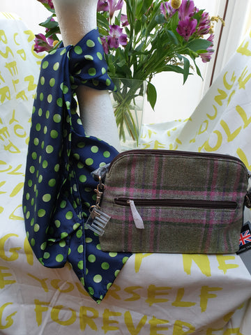Hand Finished Silk Scarf Navy and Lime Green Spot