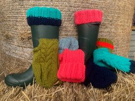 Classic Colours Ladies Hand Knitted Acrylic Wellie Socks