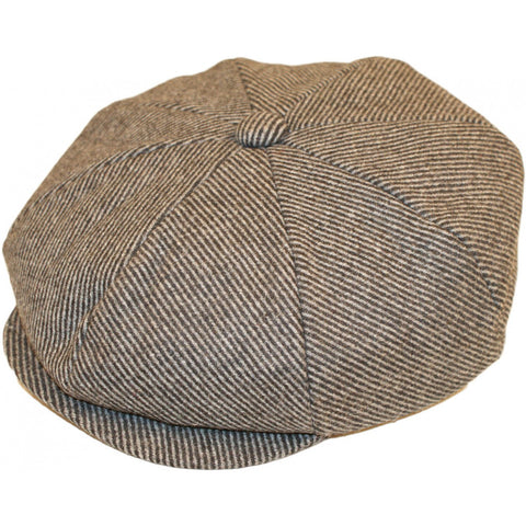 100% Wool Grey Tweed Classic Newsboy Cap Peaky Blinder Type