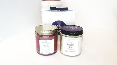 rose lover gift set sugar scrub and rose scented soy candle
