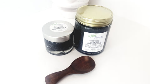 activated charcoal sugar scrub for body natural skincare by raw beauty 100 percent pure