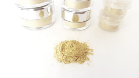gold sparkle eye makeup pigment raw beauty minerals