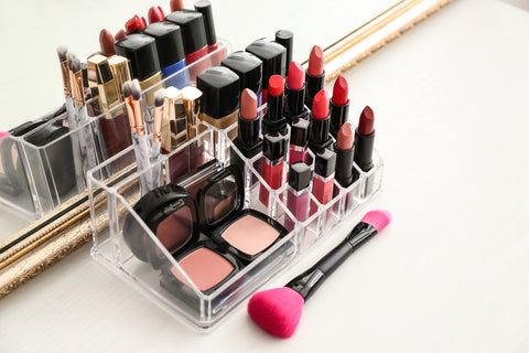organized cosmetics in plastic organizer