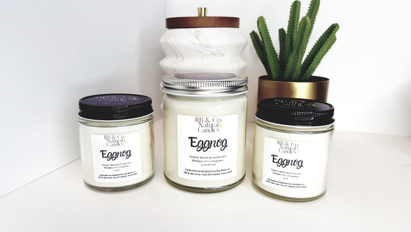 eggnog scented soy candle in glass jar 9 oz and 4 oz candle