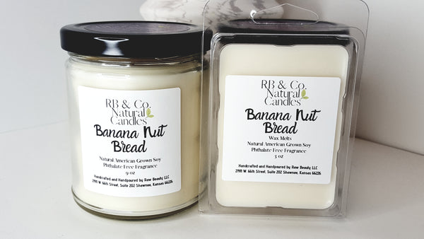 banana nut bread scented candle in glass jar phthalate-free candle dye-free candle