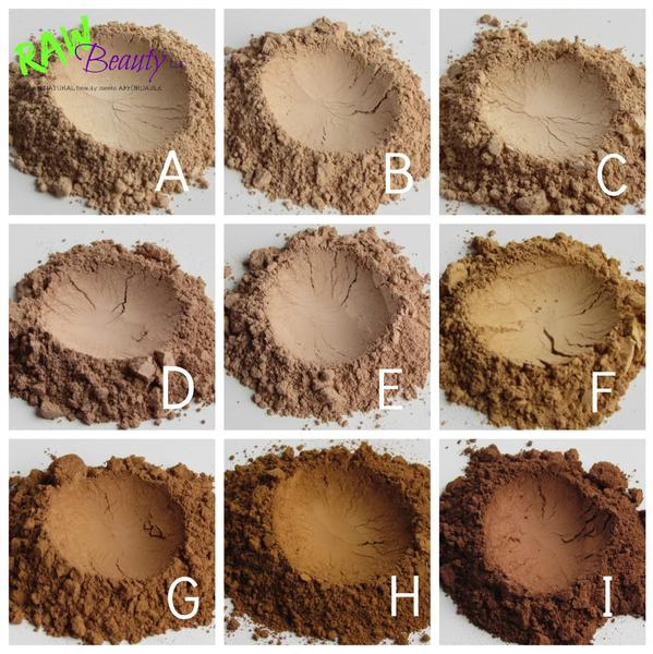 raw beauty minerals natural foundation powder in nine beautiful shades from light pale to dark