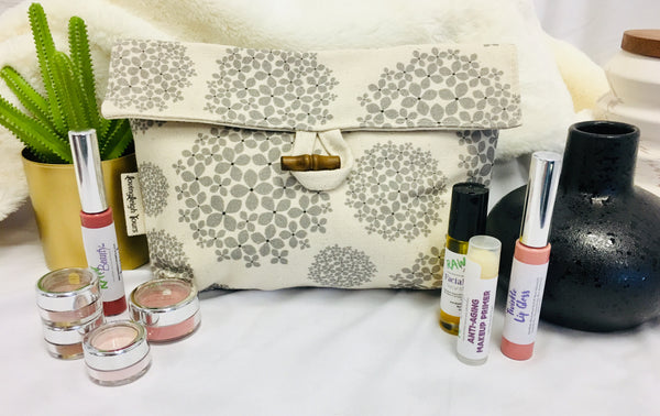 organic cotton makeup pouch handcrafted in the USA