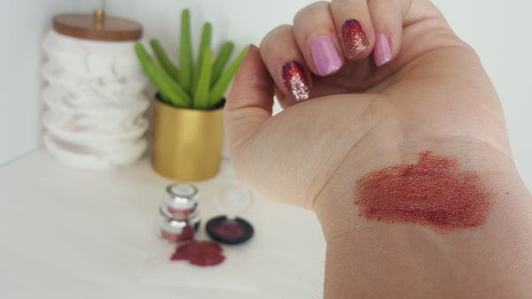 red shimmer eye shadow pigmented blush affordable cosmetics