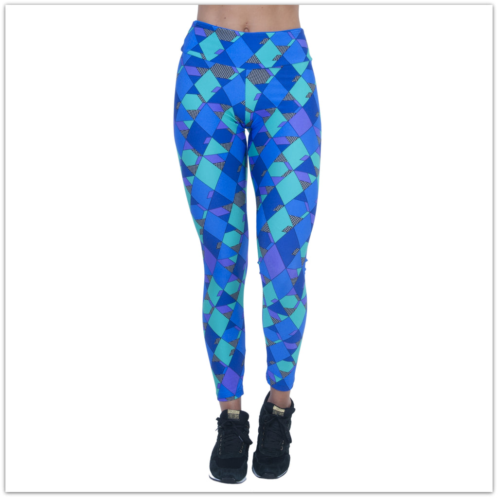 Blue Cubism Leggings by Bia Brazil