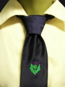 Blue with Embroidered Thistle Tie