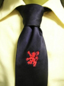 Blue with Embroidered Rampant Lion Tie