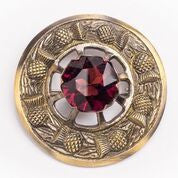 Large Red Stone Brooch (Antique Brass)