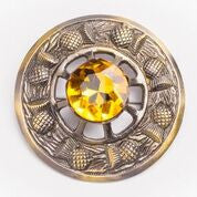 Large Yellow Stone Brooch (Antique Brass)