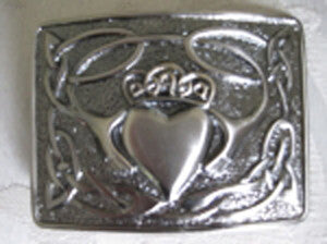 Claddagh Belt Buckle (Silver Finish)