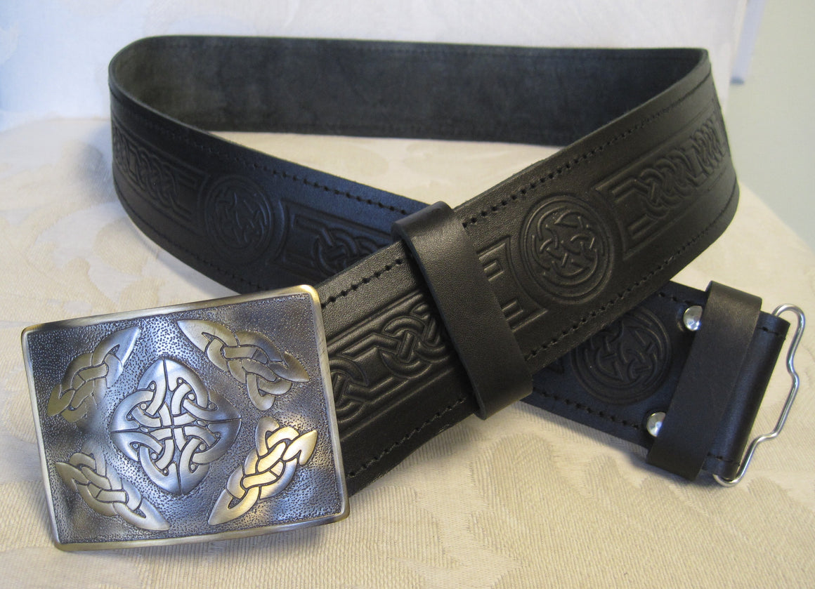 Embossed Celtic Knot Belt & Antique Brass Celtic Square Buckle