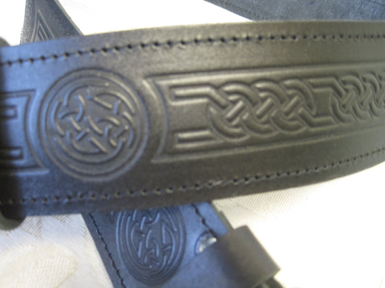 Embossed Celtic Knot Black Leather Belt