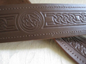 Embossed Celtic Knot Brown Leather Belt