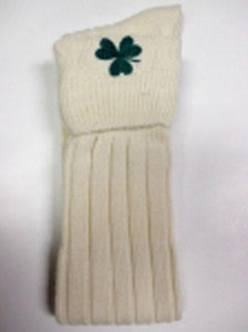 Embroidered Shamrock (Off-White) Kilt Hose