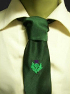Green with Embroidered Thistle Tie