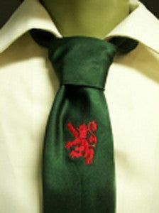 Green with Embroidered Rampant Lion Tie