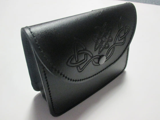 Black Embossed Celtic Knot Belt Pouch