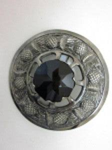 Large Black Stone Antique Nickel Brooch