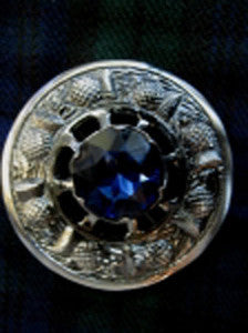 Large Blue Stone Antique Nickel Brooch