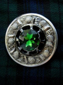 Large Green Stone Antique Nickel Brooch