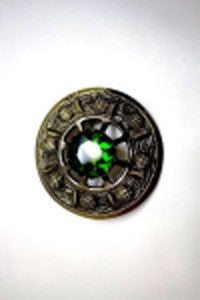 Large Green Stone Brooch (Antique Brass)