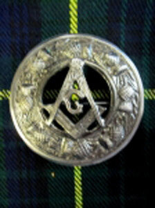 Large Masonic Antique Nickel Brooch