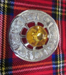 Large Yellow Stone Brooch (Chrome Finish)