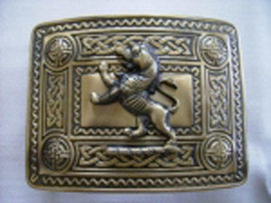 Rampant Lion Buckle (Antique Brass Finish)
