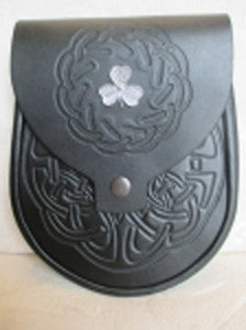 Shamrock & Black Embossed Leather Sporran