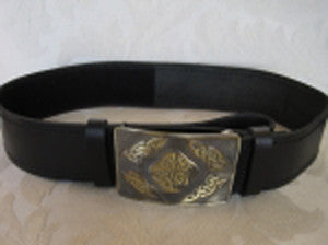 Smooth Belt & Antique Brass Celtic Square Buckle