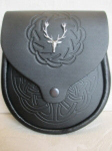 Stag Head & Black Embossed Leather Sporran