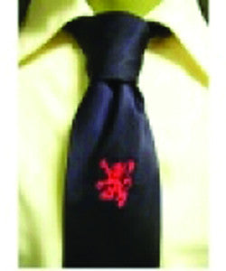Black with Embroidered Rampant Lion Tie