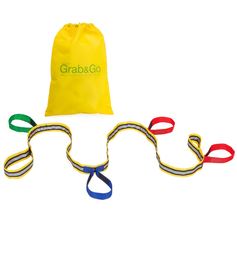 Walkodile® Grab & Go Toddler Walking Rope, Children's Reins / Fire Drill Resource (4 child). With Free Learning Games for Walks Guide!