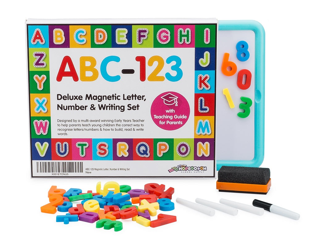 GREAT FOR HOME LEARNING - ABC-123 Children's Magnetic Letter, Number & Writing Set.