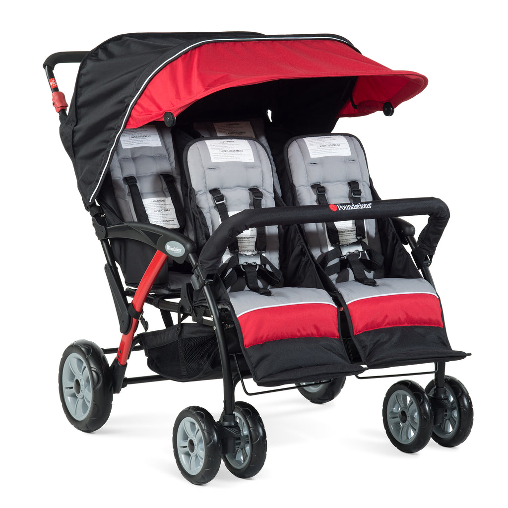 Foundations Quad Sport - 4 Child Stroller (Red/Black) with FREE rain cover.