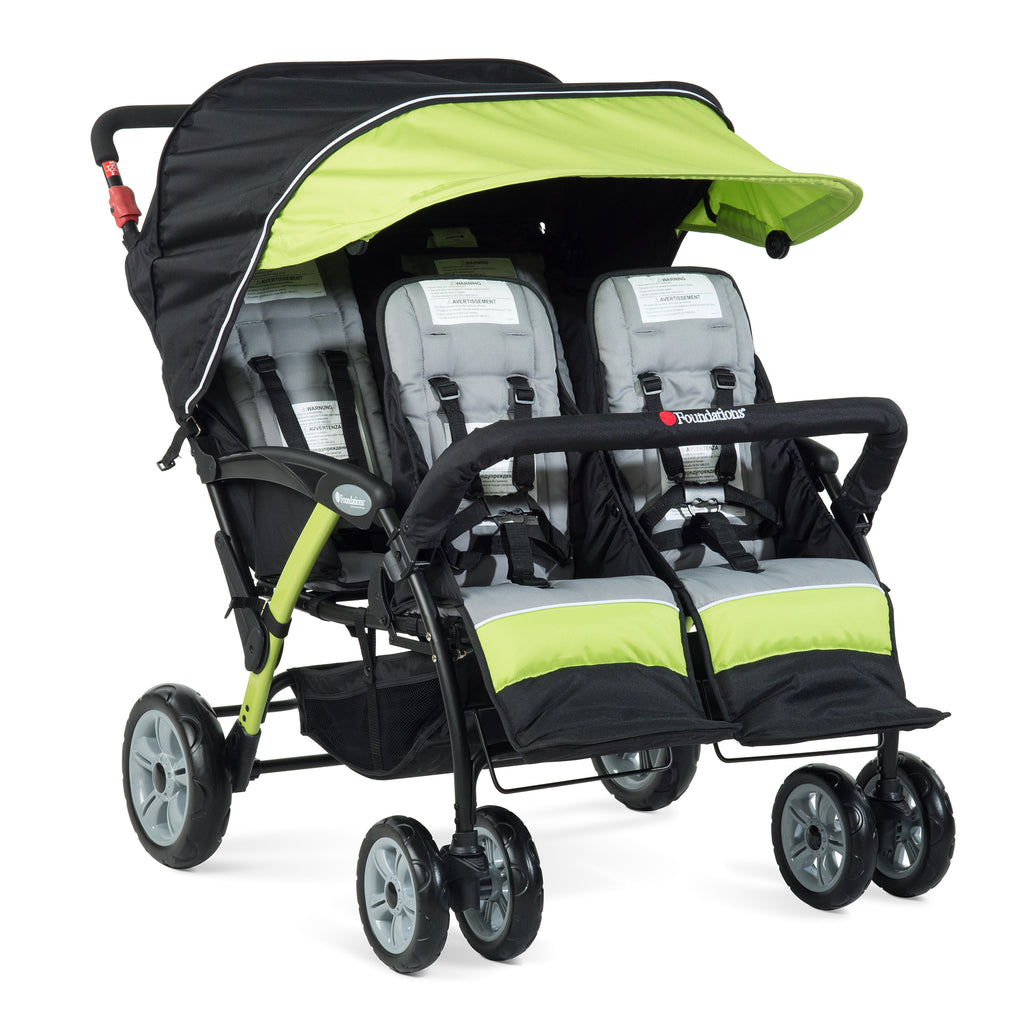 Foundations Quad Sport - 4 Child Stroller (Lime/Black) with FREE rain cover.