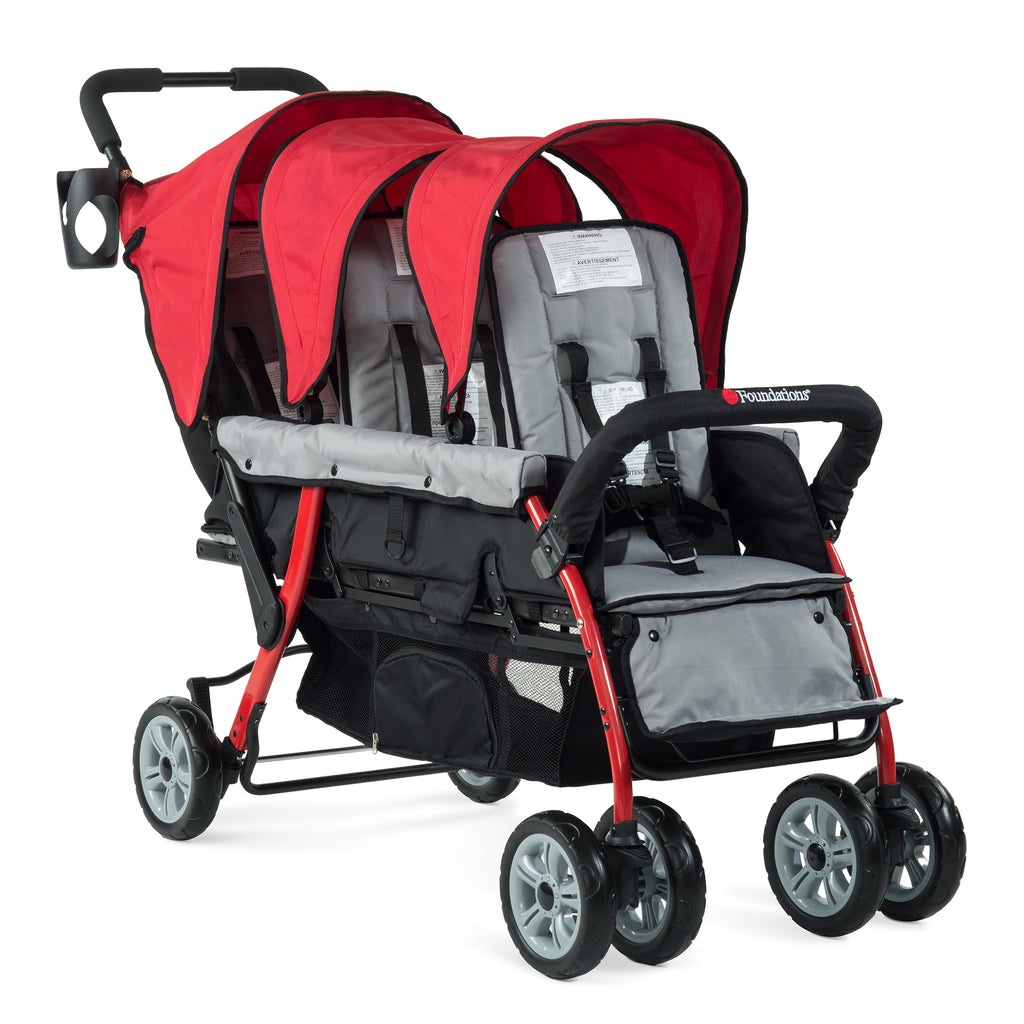SUMMER OFFER! Foundations Trio Sport - 3 Child Stroller (Red/Black) with FREE rain cover.