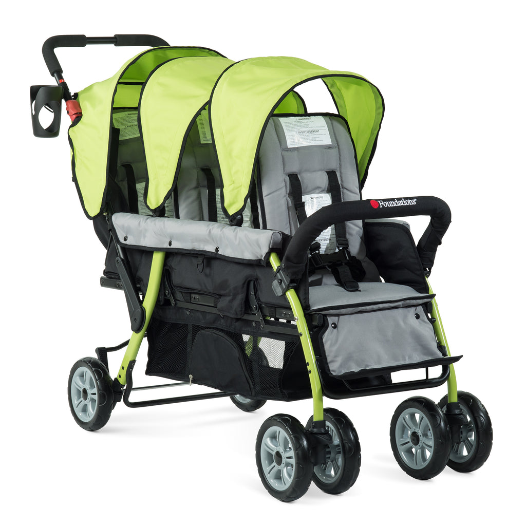 Foundations Trio Sport - 3 Child Stroller (Lime/Black) with FREE rain cover.