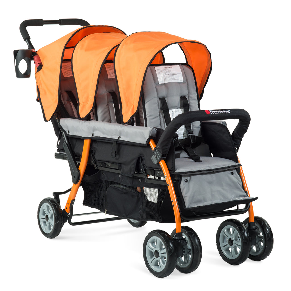 Foundations Trio Sport - 3 Child Stroller (Orange/Black) with FREE rain cover.