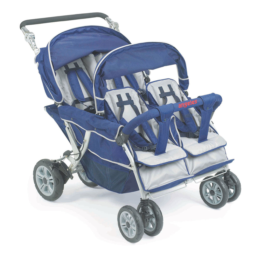 Bye Bye Stroller - 4 Seat (Incl. FREE Raincover), Quad Buggy, Pram for Four Babies