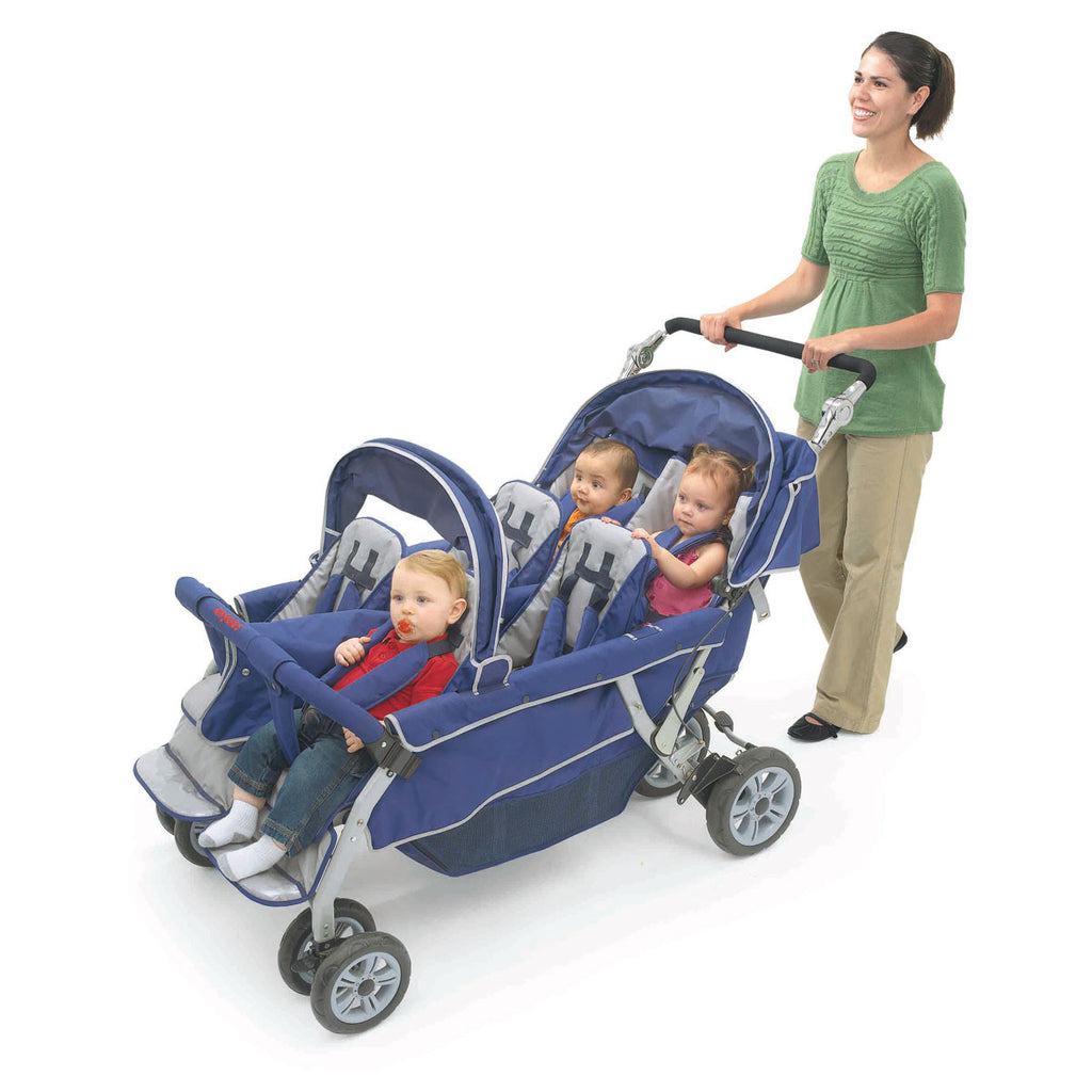 Bye Bye Stroller - 6 Seat (Incl FREE Raincover), Six Child Pram, Buggy for 6 Children