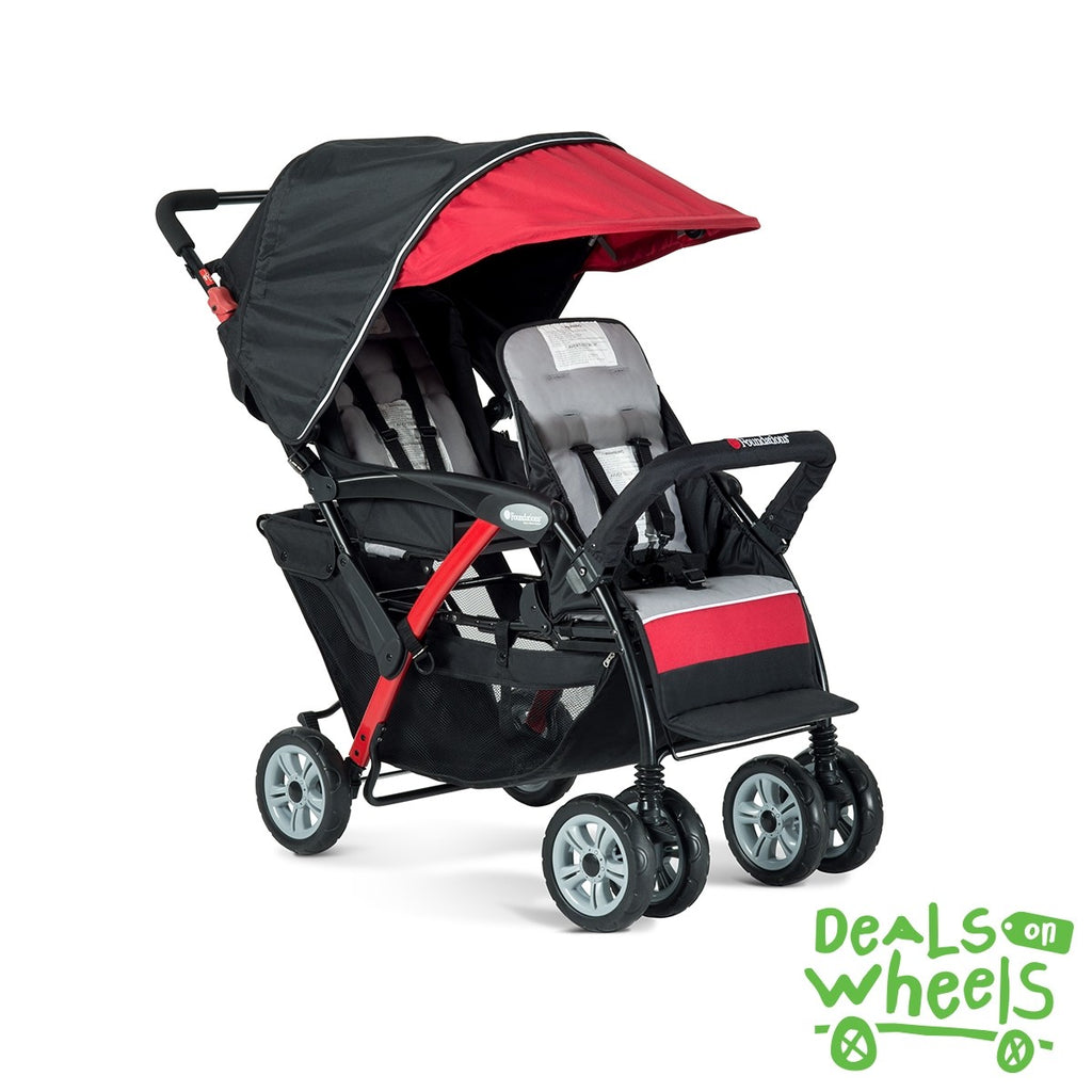 Foundations Duo Sport - 2 Child Stroller (Red/Black) with FREE rain cover.