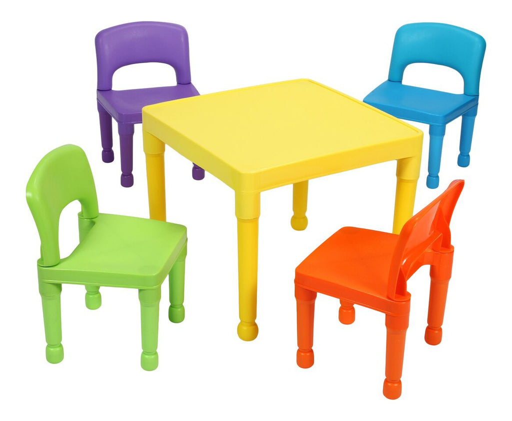 Multi Coloured Table & 4 Chairs Set