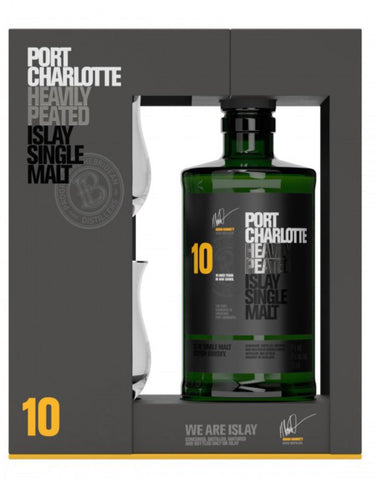 Port Charlotte 10 Year Old Gift Pack, Single Malt Whisky, 70cl