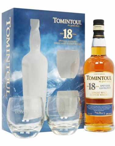 Tomintoul 18 Year Old Gift pack, Single Malt Whisky, 70cl
